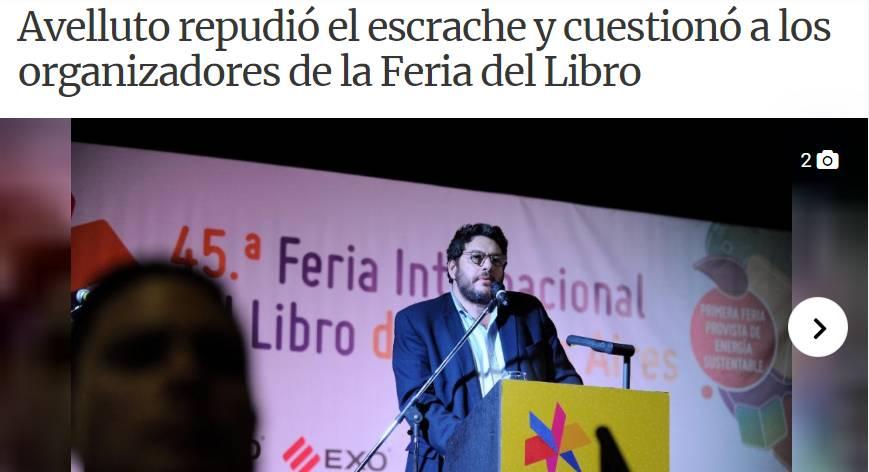 'ESCRACHARON A AVELLUTO OTRA VEZ EN LA FERIA DEL LIBRO Y CON RAZÓN'