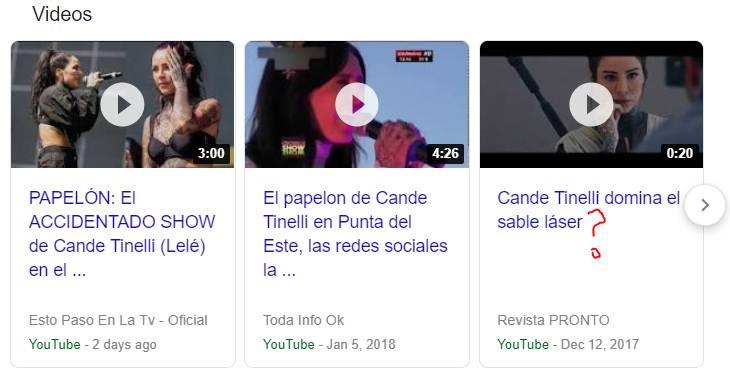 EN YOUTUBE HAY DOS VIDEOS DE CANDELARIA, UNO DICE 'PAPELÓN EN PUNTA DEL ESTE', EL OTRO 'PAPELON EN LOLLAPALOOZA'