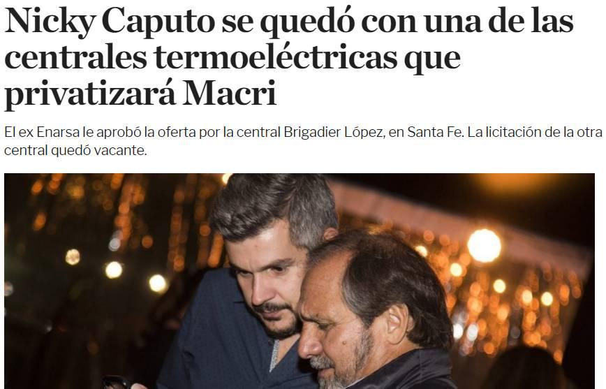 MACRI VENDIÓ, A MENOS DE LA MITAD DE SU VALOR, LA CENTRAL TERMOELÉCTRICA ENSENADA BARRAGAN A SU AMIGO NICOLÁS CAPUTO