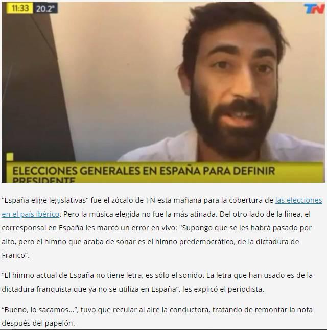 TN SE SUBE A LA 'ONDA CALAMARVOX' Y HACE SONAR EL HIMNO CON LETRA FRANQUISTA EN PLENA ENTREVISTA CON PERIODISTA ESPAÑOL