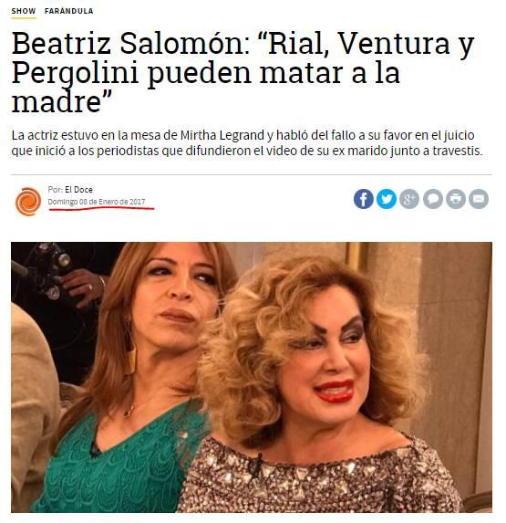 'LO PERVERSO DE SENTAR EN LA MESAZA A FLOR DE LA V FRENTE A BEATRIZ SALOMÓN, QUE ABOMINÓ DE LOS GUSTOS SEXUALES DE SU EX MARIDO'