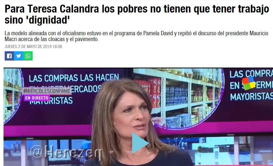 '¿CUÁL ES EL SENTIDO DE DARLE AIRE A VOCES COMO LA DE TERESA CALANDRA, QUIEN PARECE TENER CONECTADO EL APARATO DIGESTIVO AL REVÉS?'