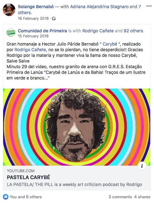 SOLANGE BERNABÓ, HIJA DE CARYBÉ, CONTENTA CON LA PASTELA DEDICADA A SU PADRE