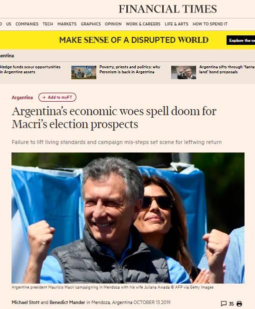 'EL FINANCIAL TIMES HOY LITERALMENTE TRATA A MACRI DE IDIOTA'